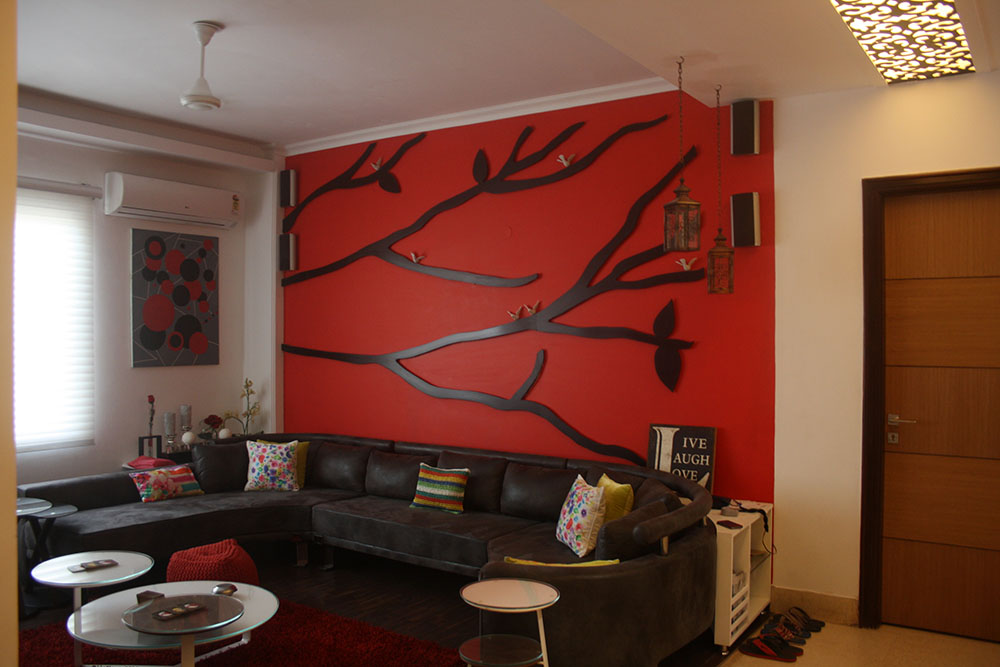 Family Lounge Red wall u2013 Envisage Design